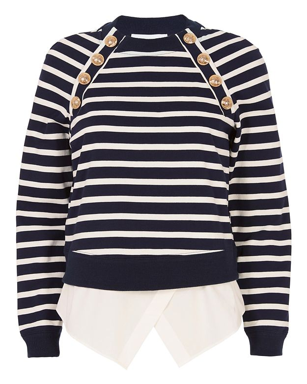 Derek Lam 10 Crosby Striped Sweatshirt With Button Detail