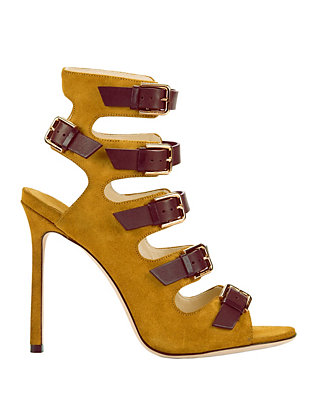 Trick Buckled Suede Pumps: Yellow