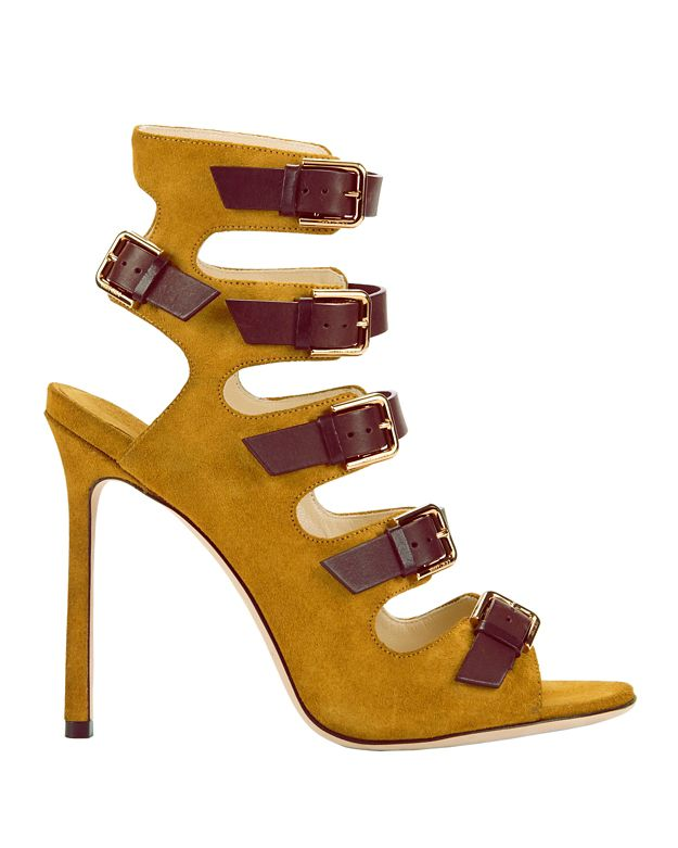 Jimmy Choo Trick Buckled Suede Pumps: Yellow