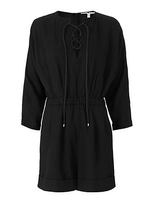 Derek Lam 10 Crosby Lace Up Romper: Black