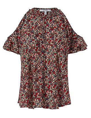 Derek Lam 10 Crosby Cold Shoulder Print Top