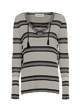 Derek Lam 10 Crosby Lace-Up Pullover: Black/White