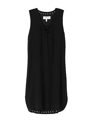 Derek Lam 10 Crosby Eyelet Lace-Up Tank Dress: Black