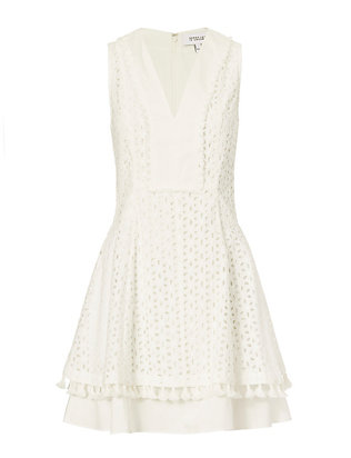Derek Lam 10 Crosby Fit & Flare Eyelet Dress: White
