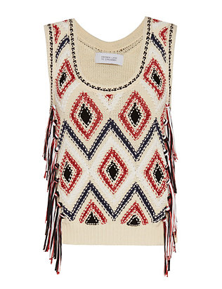 Derek Lam 10 Crosby Diamond Embroidery Fringe Shell