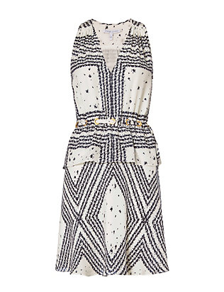 Derek Lam 10 Crosby EXCLUSIVE Grommet Detail V Neck Print Dress