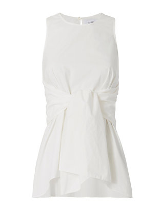 Derek Lam 10 Crosby Sleeveless Wrap Tie Waist Blouse: White