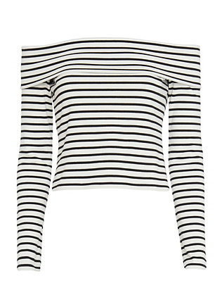 Derek Lam 10 Crosby Striped Off The Shoulder Top