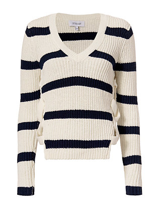 Derek Lam 10 Crosby EXCLUSIVE Lace-Up Side V Neck Striped Sweater