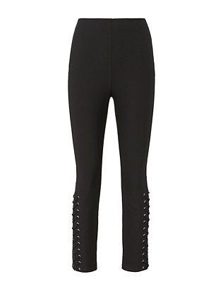 Derek Lam 10 Crosby Lace-Up Hem Black Skinny Pants