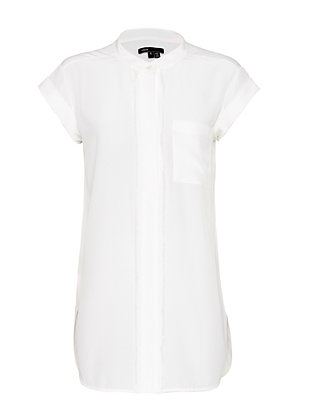 Vince Frayed Placket Blouse: White