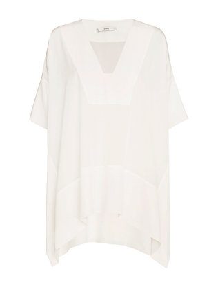 Vince V Neck Poncho Blouse: White