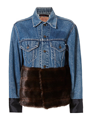 Harvey Faircloth Faux Fur Hem Denim Jacket