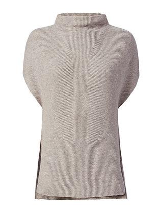 Sleeveless Ribbed Turtleneck: Grey