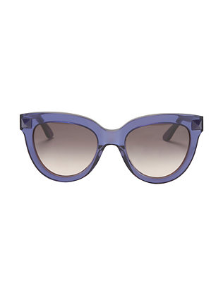Valentino Rockstud Cat Eye Sunglasses: Metallic Blue
