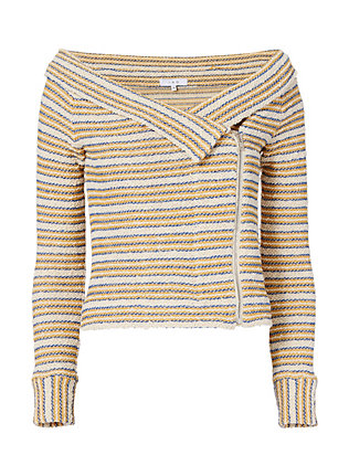IRO Vana Striped Off-The-Shoulder Knit Jacket