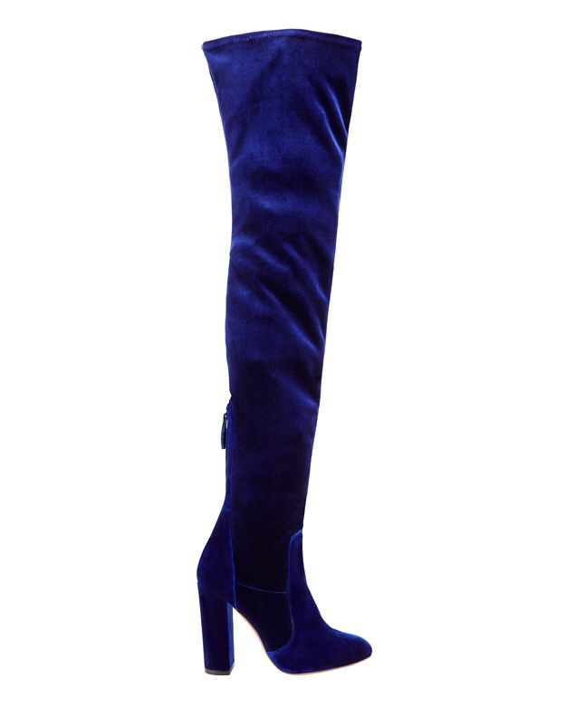 Aquazzura Velvet Thigh High Boot: Blue