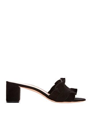 Vera Ruffled Suede Sandals