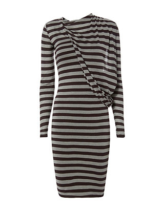 Draped Fabric Stripe Dress