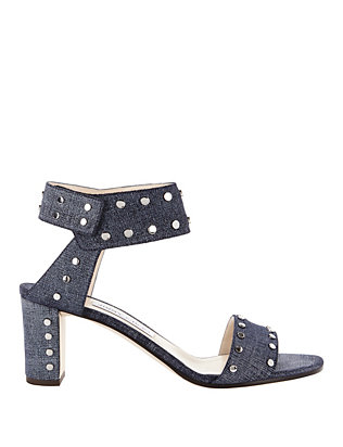 Jimmy Choo Veto Studded Denim Sandals
