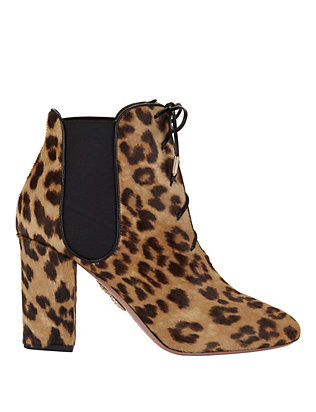Victoria Lace-Up Leopard Haircalf Booties