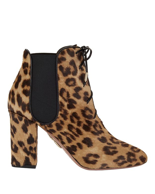 Aquazzura Victoria Lace-Up Leopard Calfhair Booties