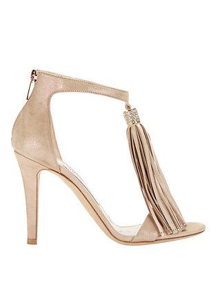 Viola Shimmer Suede Sandals: Nude