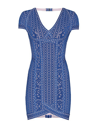Herve Leger Cap Sleeve Jacquard Dress: Blue