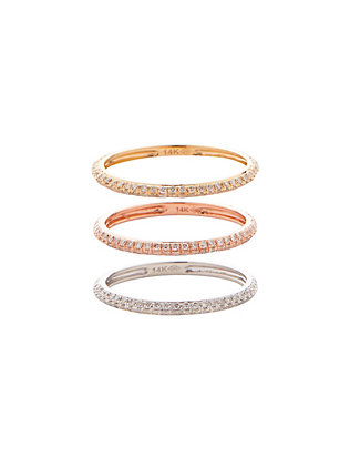19Fifth Three Pave Diamond Banded Rings
