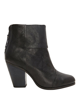 Classic Newbury Black Leather Booties