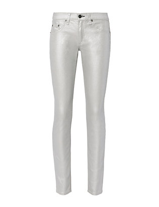 Rag & Bone/JEAN Coated Metallic Skinny Jeans