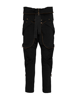 Faith Connexion Zipper Detail Cargo Pants: Black