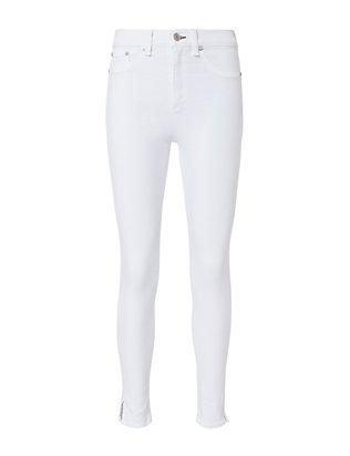 White Slit 10 Inch Capri Jeans
