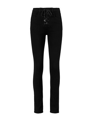 10 Inch Black Lace-Up Skinny Jeans