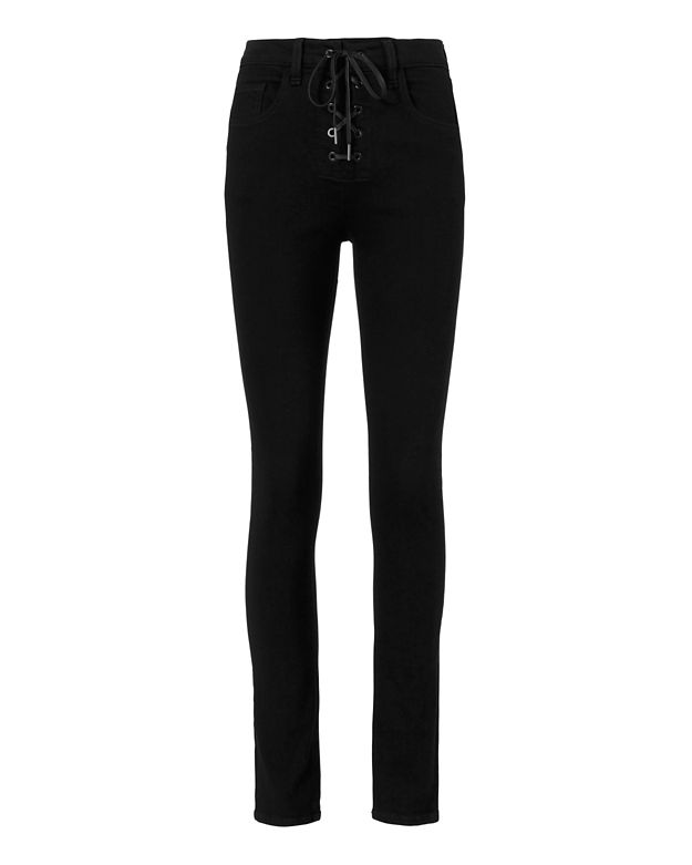 Rag & Bone/JEAN 10 Inch Black Lace-Up Skinny Jeans