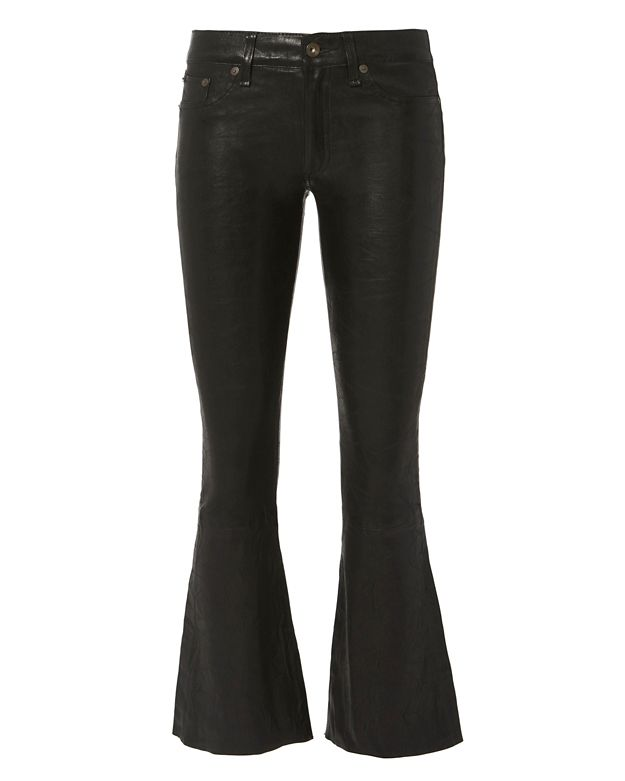 Rag & Bone/JEAN Washed Leather Crop Flare Pants