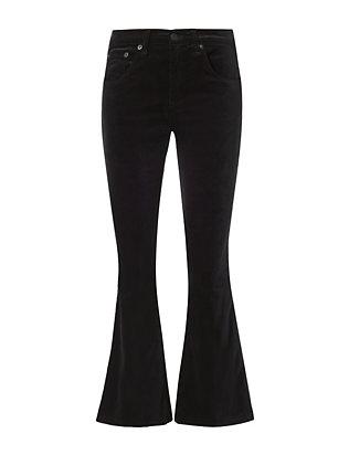 Black Velvet Crop Flare Jeans