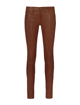 Cognac Leather Skinny Pants