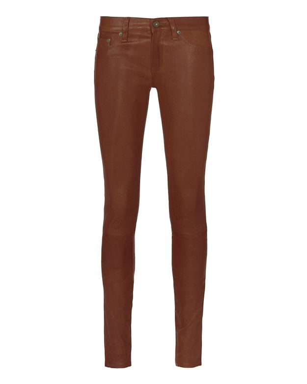 Rag & Bone/JEAN Cognac Leather Skinny Pants