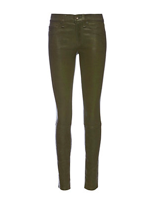 Rag & Bone/JEAN Washed Leather Skinny: Olive