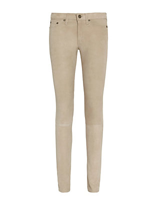Rag & Bone/JEAN Suede Five Pocket Skinny: Stone
