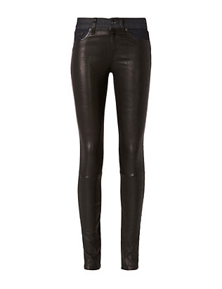 Rag & Bone/JEAN Essex Leather Hyde Denim Skinny Pants
