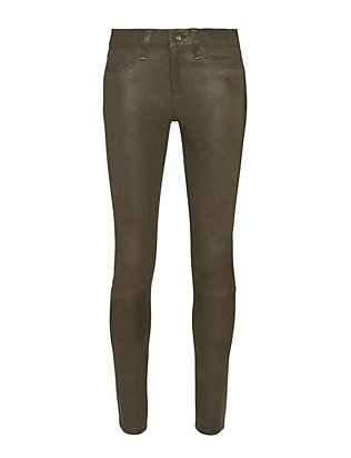 Rag & Bone/JEAN Leather Capri Skinny: Army Green