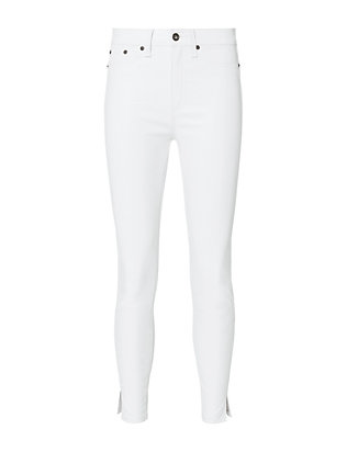 Rag & Bone/JEAN White Leather Slit Hem Capri Jeans