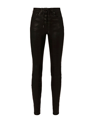 Black Lace-Up Leather Skinny Pants
