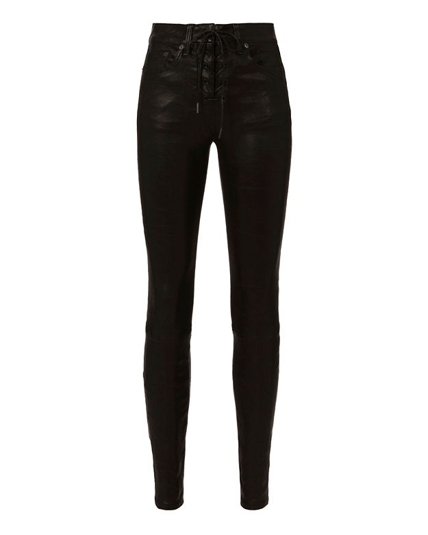 Rag & Bone/JEAN Lace-Up Leather Skinny: Black