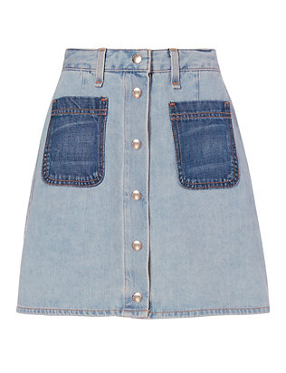 Rag & Bone/JEAN Varick Patch Denim Skirt