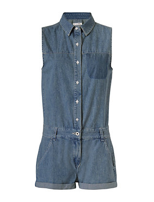 Rag & Bone/JEAN EXCLUSIVE Cut Out Back Denim Romper
