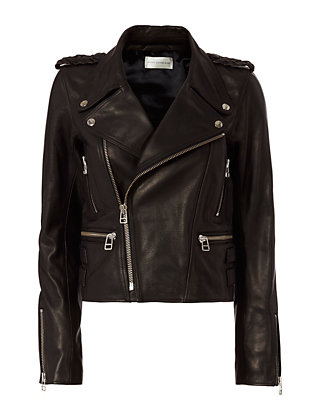 Faith Connexion Boxy Leather Jacket: Black