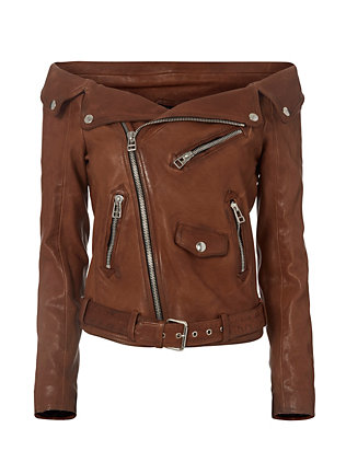 Off The Shoulder Leather Moto Jacket